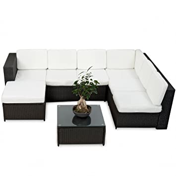 Loungemöbel outdoor schwarz  Amazon.de: 20tlg. Deluxe Lounge Garnitur Set Gruppe Polyrattan ...