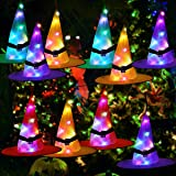 Halloween Decorations Outdoor Witch Hats 10Pcs Hanging Lighted Witch Hat Decorations RGB LED String Lights Battery…