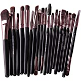 Cinidy 20 pcs Makeup Brushes-Professional Eye Blush Face Eyeliner Foundation Lip Cosmetic Tools-Best Make Up Brush Set (Coffee)