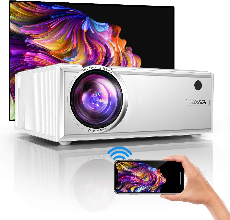 Proyector,YABER Mini Proyector WiFi,2020 Actualizado Proyector Portátil 5800 Lúmenes Soporta Full HD 1080P Vídeo Proyector Cine en Casa con Altavoces Estéreo HiFi,HDMI USB VGA SD PS4 (Blanco)