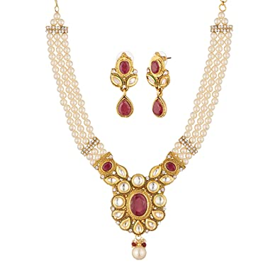 1891cb235 Buy Apara Pearl Moti Ruby Necklace Set with Kundan   Stones for Women Girls  Online at Low Prices in India