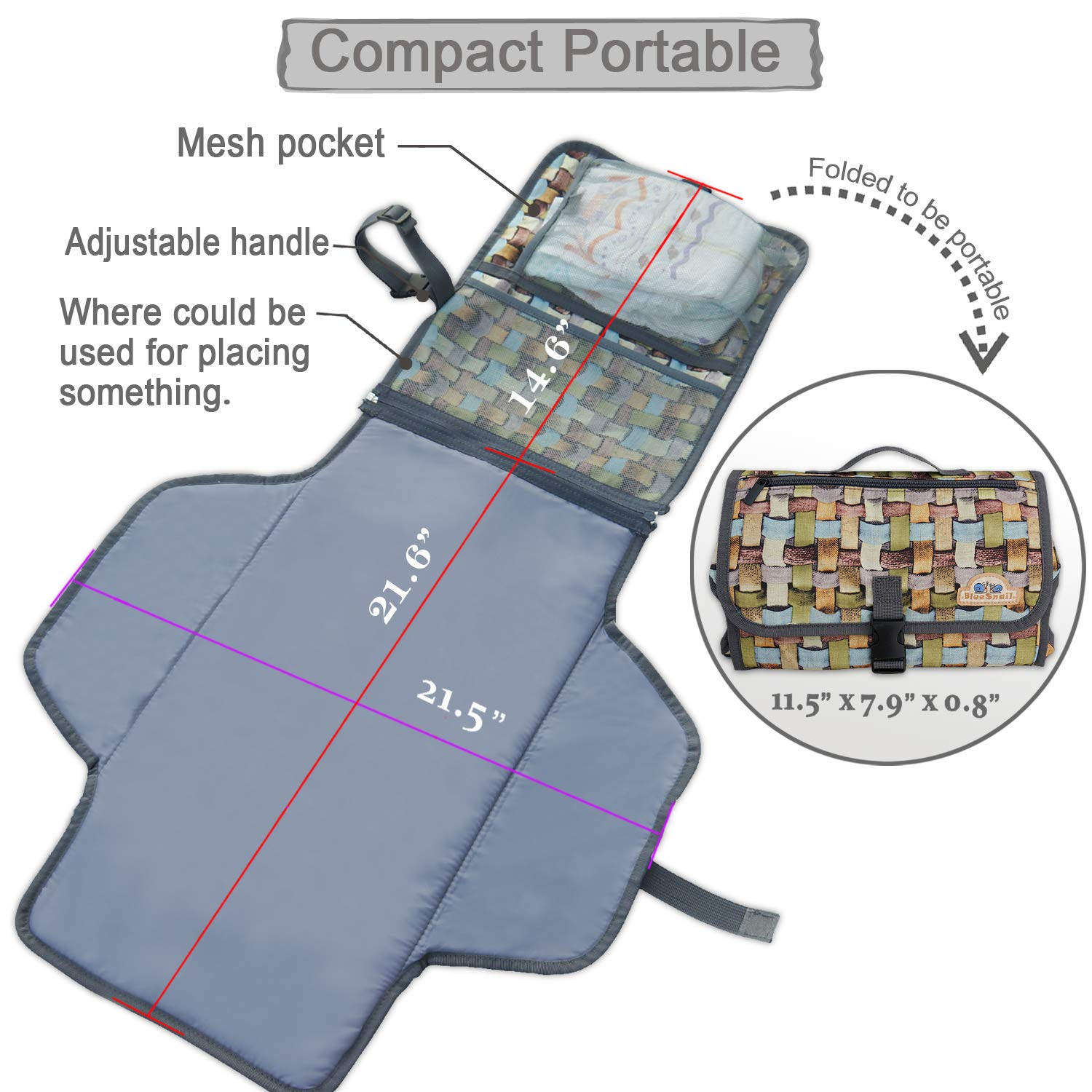 BlueSnail Portable Changing Pad,Diaper Clutch,Lightweight Travel Station Kit for Baby Diapering Grey