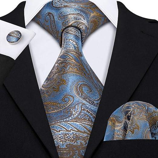 HDHFC Azul Paisley Traje Tiek Hombres Corbata para Boda ...