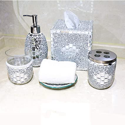 6c042d22a947 COMMODA Silver Mosaic Bathroom Accessories Set, 5 Piece Bath Set ...