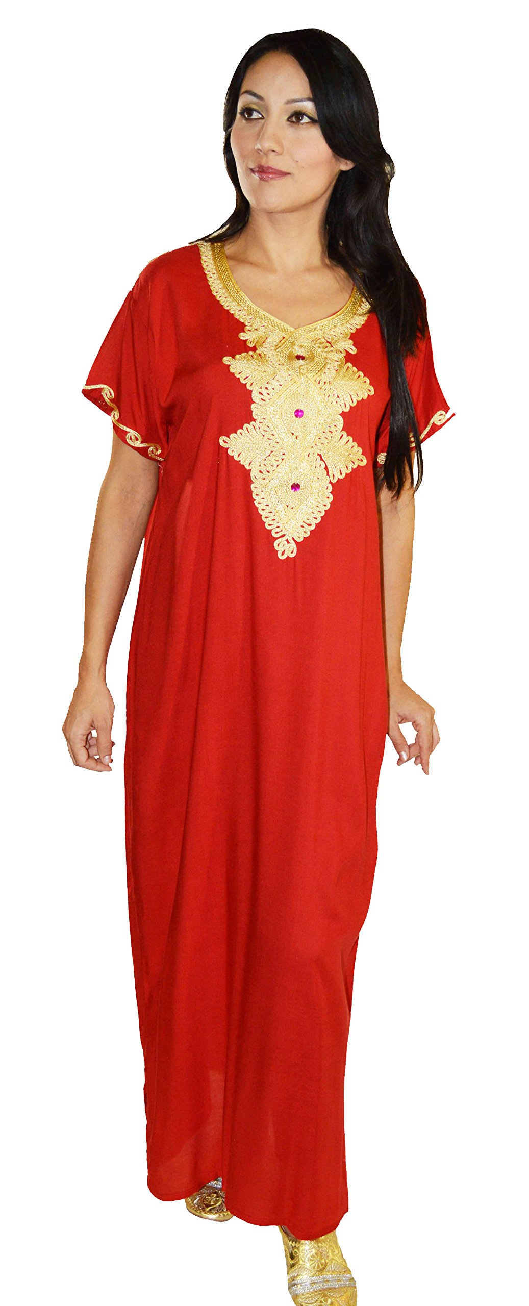 Moroccan Caftans Handmade Light Weight Cotton Hand Embroidery Andalusia Fits Small to Medium Red by Moroccan Caftans (Image #1)