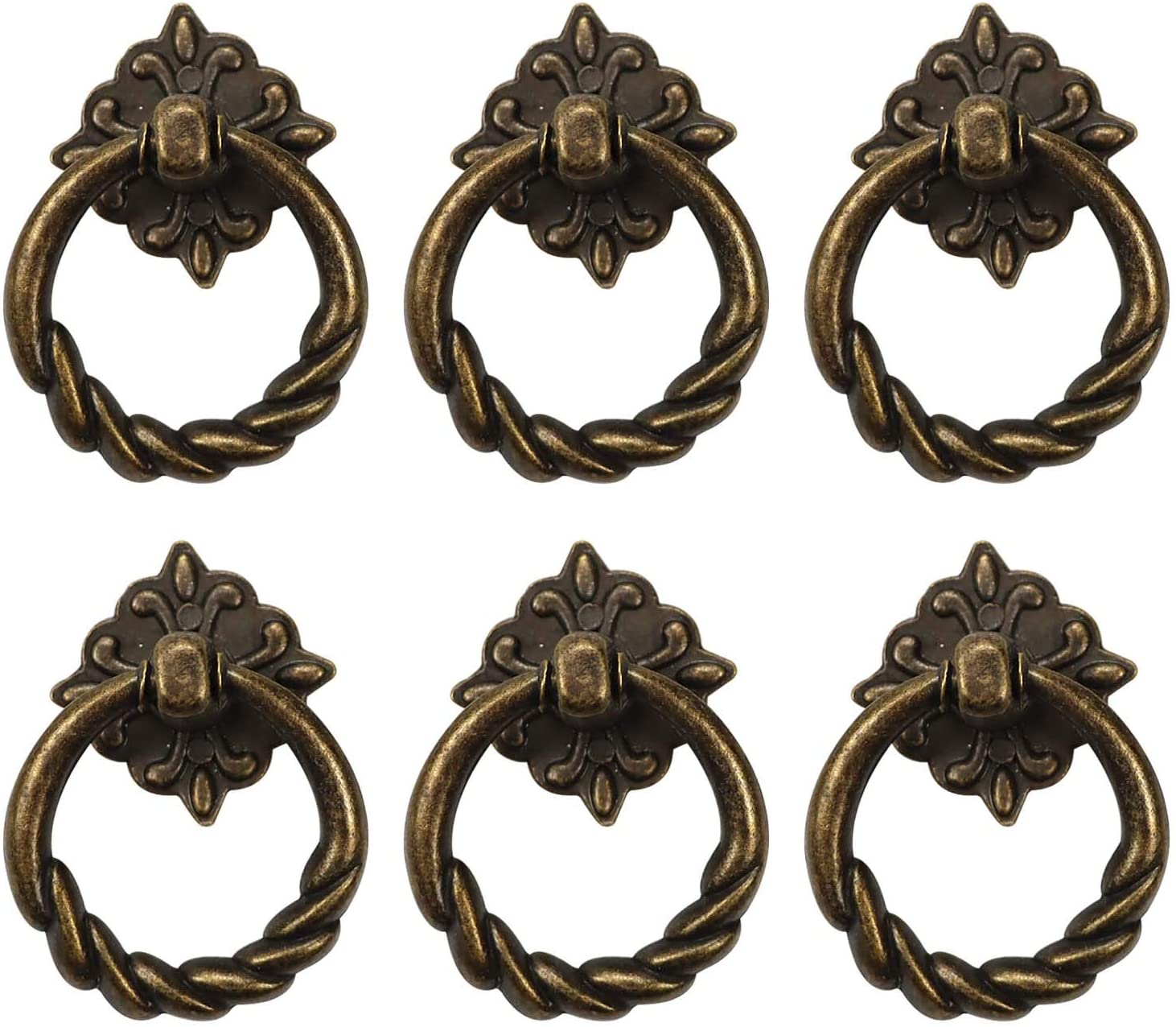 Chris.W 6pcs Vintage Bronze Drop Ring Knobs Pulls Handles for Dresser Drawer Antique Drawer Pull Ring Single Hole Decorative Hardware with Screws for Furniture Cabinet Cupboard