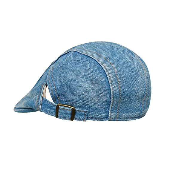 e39911edb46 Amazon.com  LETHMIK Denim Flat Cap newsboy IVY Irish Hats Jean Cabbie  Scally Cap duckbill Hat Plain Light Blue  Clothing