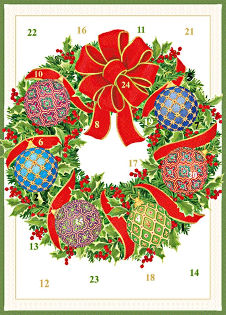 Caspari Imperial Ornament Wreath Advent Calendar Cards