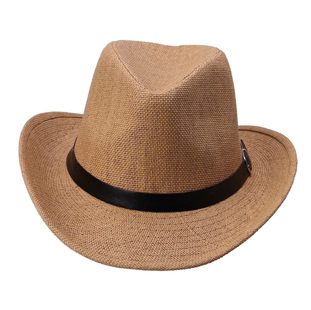 JTC Men Women PU Belt Cowboy Summer Sun Hat Panama Caps
