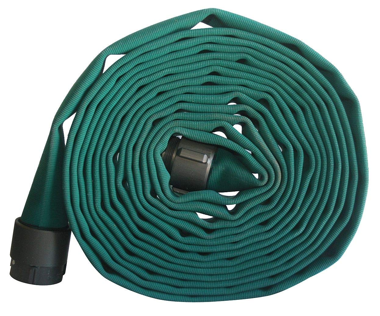 Armored Textiles Supply Line Fire Hose, Double Jacket, 3'' Hose Inside Dia, 50 ft, Green - G52H3HDG50N