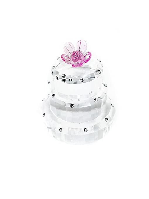 Buy Simon Design Crystal 3 Tier Birthday Cake With Pink Flower Online At Low Prices In India