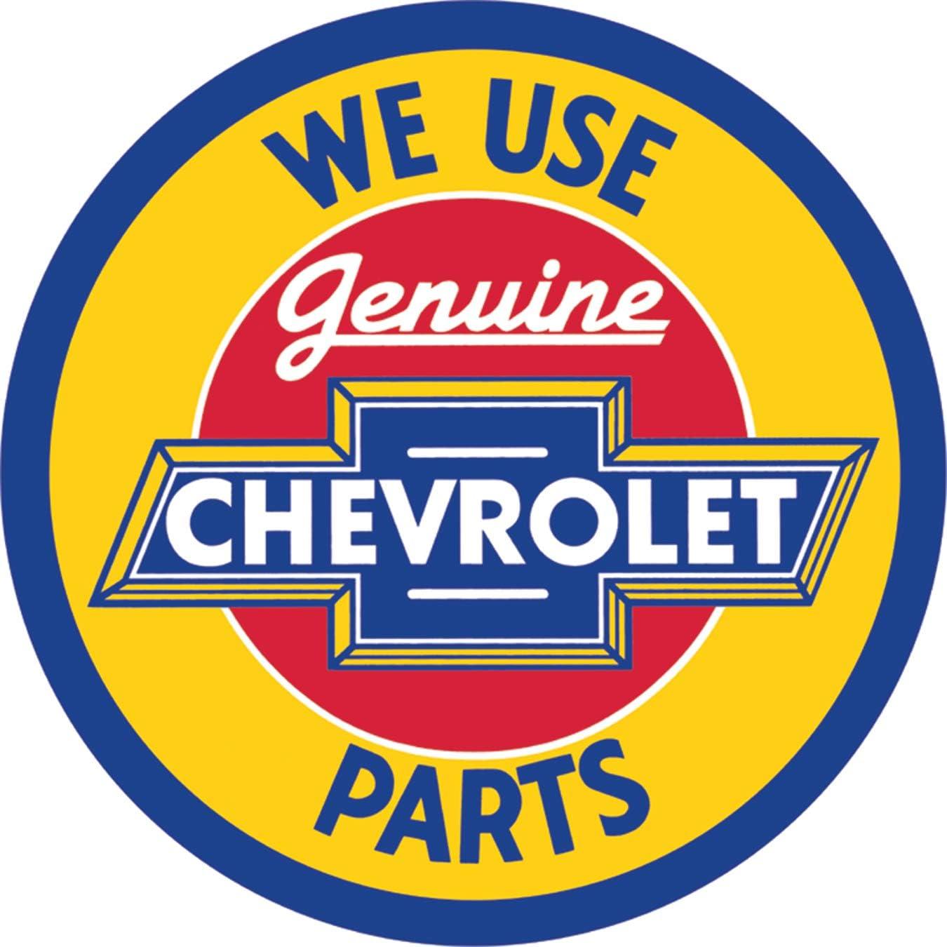 """Desperate Enterprises Chevrolet Genuine Parts Round Tin Sign, 11.75"""" Diameter"""
