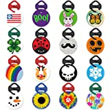Holiday and Seasonal Pawdentify Pet Tag & Links-It with Kevlar Tag Clip - For Dogs & Cats - Easy to Read & Easy to Attach - Made in USA - 16 Designs, 2 Sizes