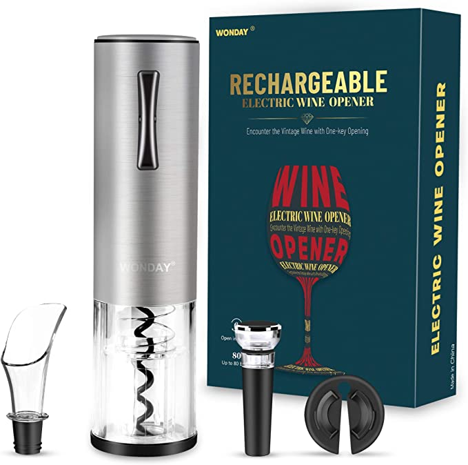 Amazon.com: WONDAY Electric Wine Bottle Opener Rechargeable Automatic Wine Openers Kit with USB Charging Cable Vacuum Stoppers Foil Cutter and Wine Pourer Wine Openers Gifts Set for Wine Loves: Kitchen & Dining