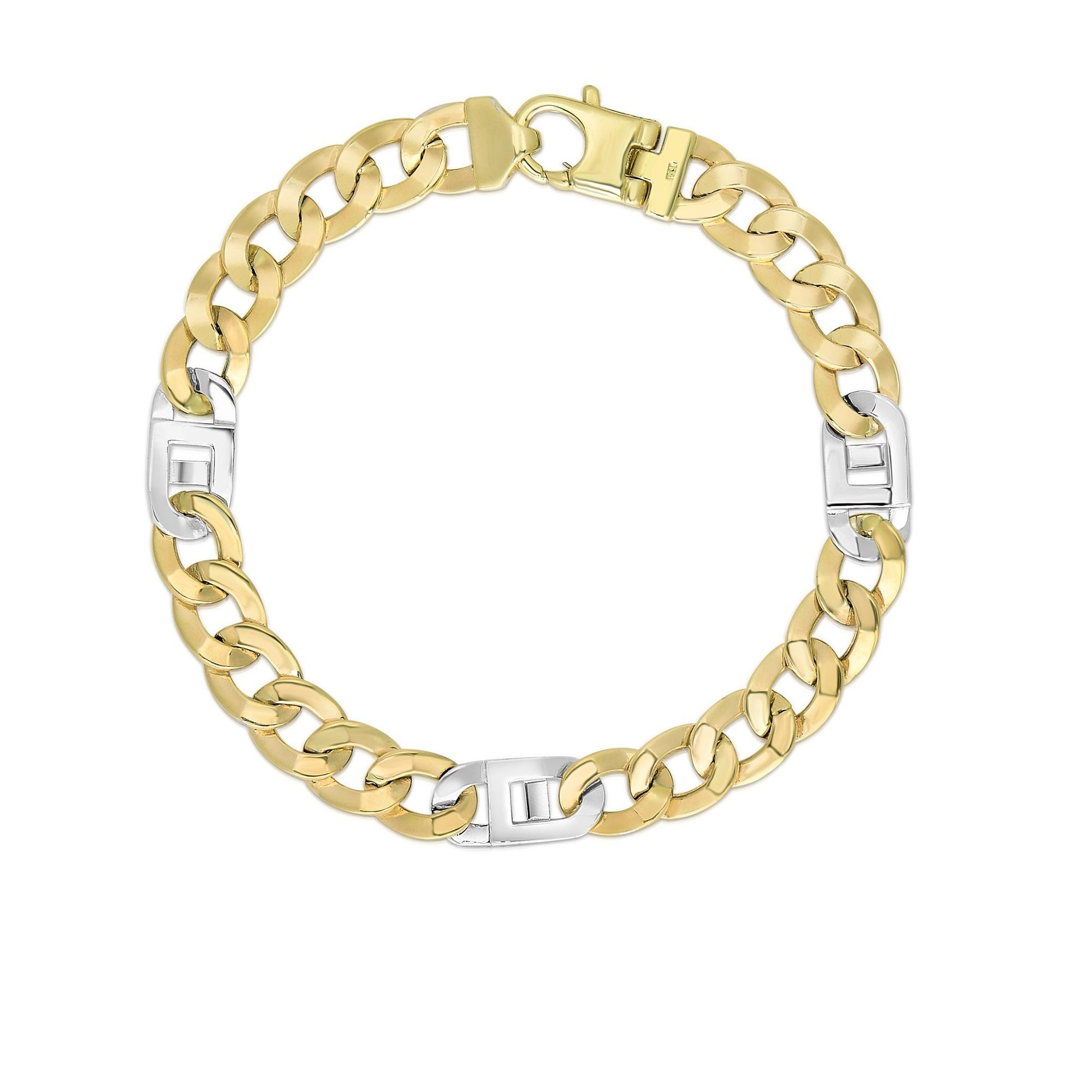 14k Two Tone Yellow And White Gold 8.5 Inch Polish Finish Curb Mariner Bracelet