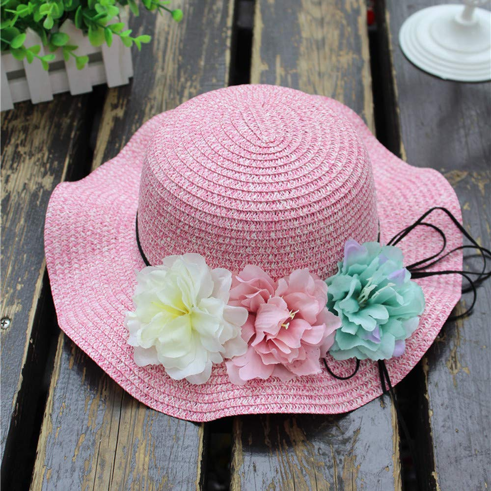 UCQueen Straw Hats for Kids with Flower Summer Baby Flower Breathable Hat Straw Sun Hat Kids Hat Boy Girls Hats
