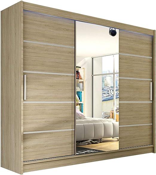 Moderno Armario de puertas correderas Aston VI con espejo, 250 x 215 x 58 cm, armario, perchero, Dormitorio, armario, Dormitorio Armario: Amazon.es: Juguetes y juegos