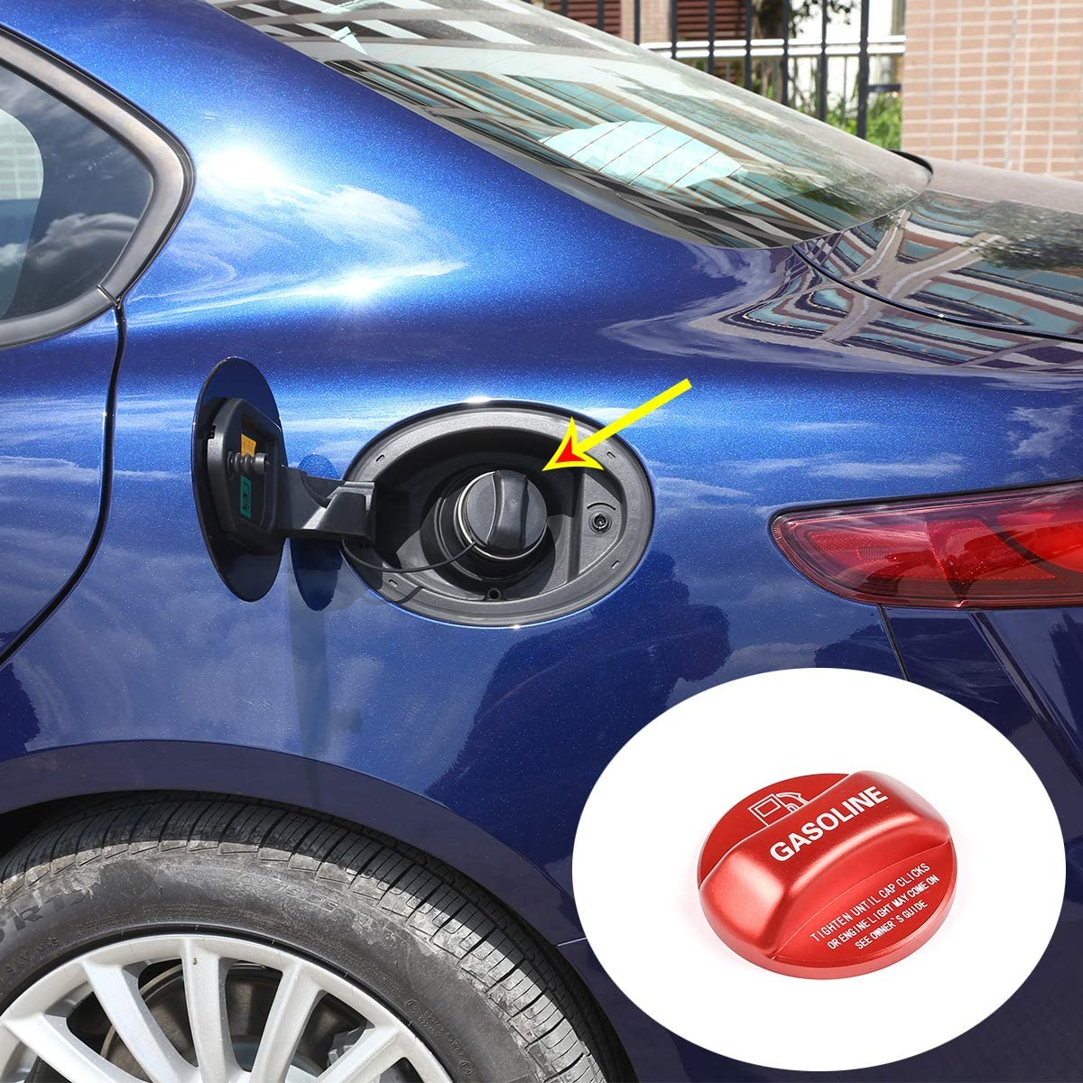 YIWANG Aluminum Alloy Gasoline Fuel Tank Cap Cover Trim For Alfa Romeo Giulia