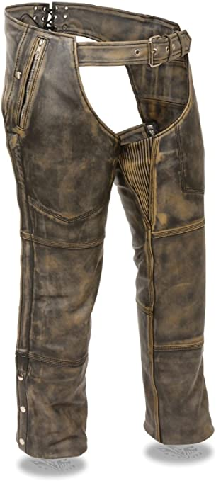 XL Regular MENS DISTRESSED BROWN MOTORCYCLE LEATHER RIDING CHAP PANTS W// ZIPOUT LINER