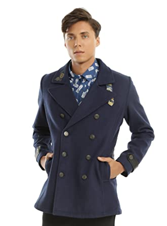 e1d4d6c237223 Amazon.com  Doctor Who Embroidered TARDIS Guys Peacoat (SMALL)  Clothing