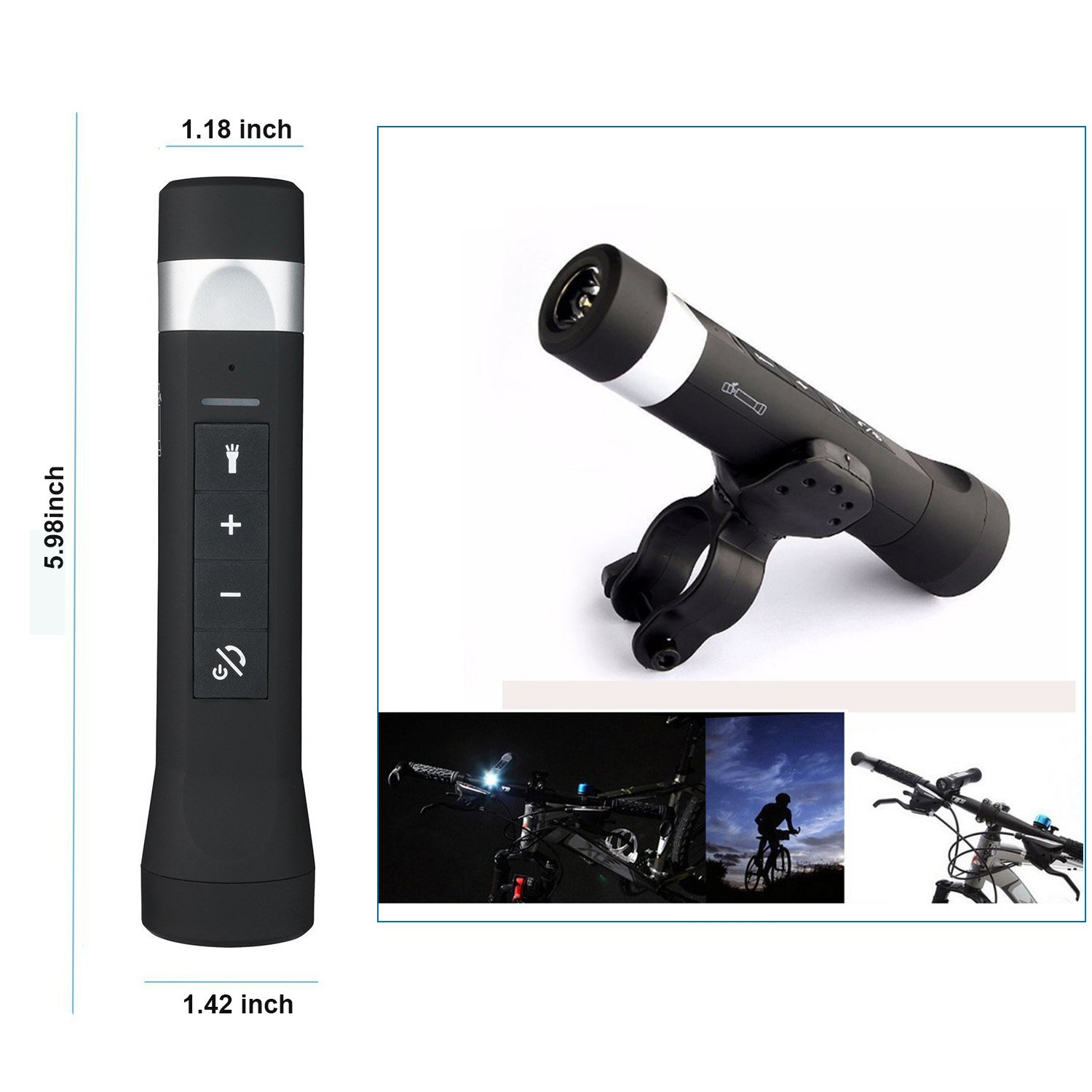 JMKMGL 4-in-1 LED Flashlight, Stereo Bluetooth Bicycle Speaker with 2600mah Power Bank Function,Bike Holder include,Multifunctional Nightlight for Home Cycling Sport