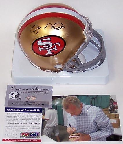 8045c1d2f9d Image Unavailable. Image not available for. Color  Joe Montana Autographed  Hand Signed 49ers Mini Helmet - PSA DNA