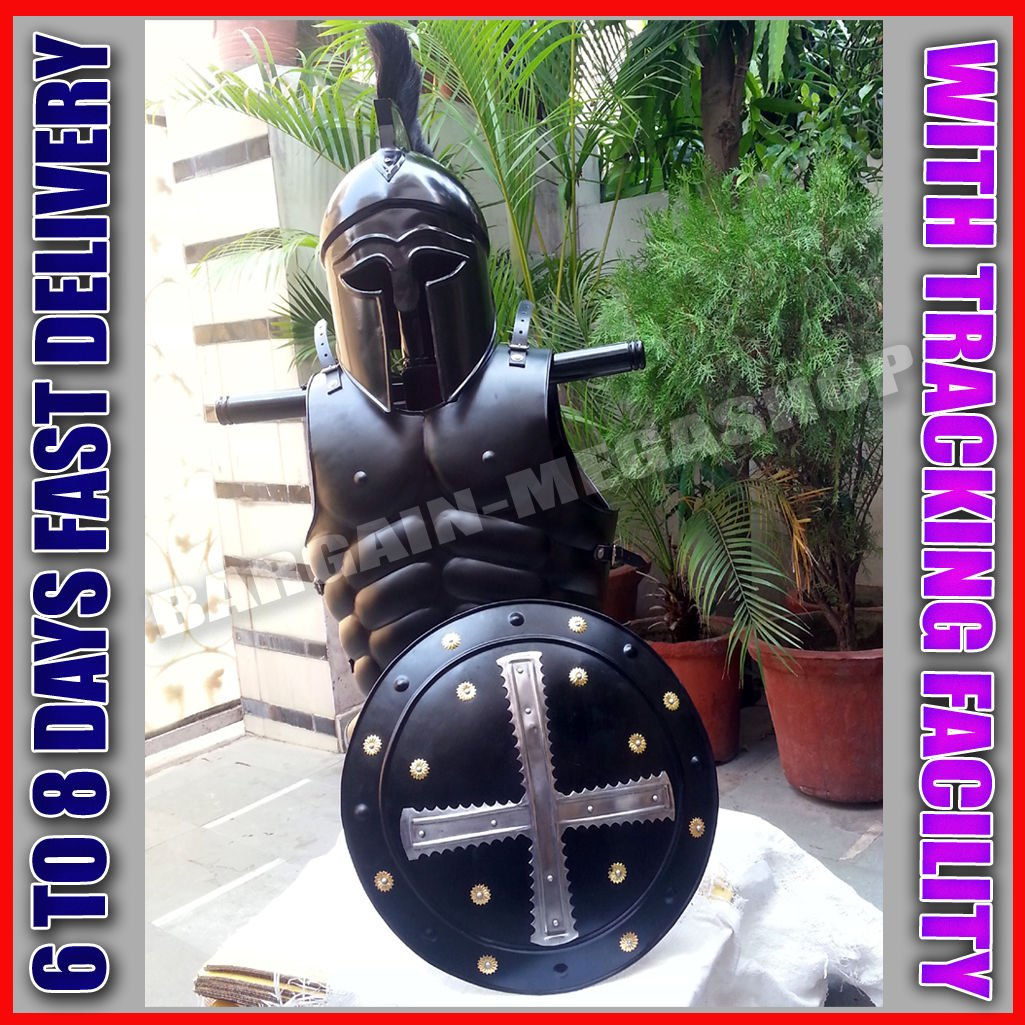 Corinthian Helmet Medieval & Viking Iron Shield W/ Muscle Jacket Collectible by Great Gift Collections