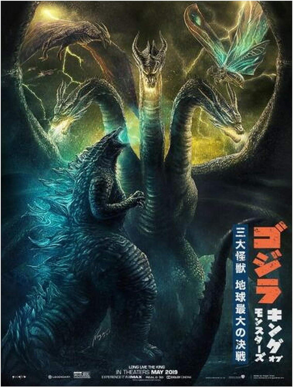 Godzilla vs King Movie Wall Art Silk Fabric Poster Canvas Print 12x18 24x36 inch