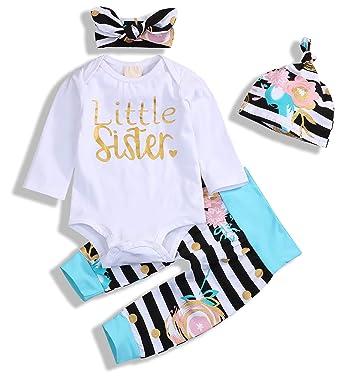c018863b2 4Pcs Baby Girls Clothes Little Sister Long Sleeve Romper+Striped Long  Pants+Hat (