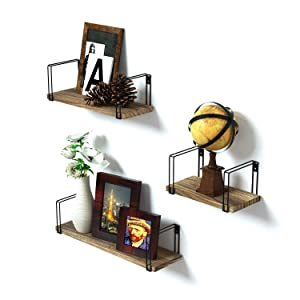 SRIWATANA Wall Mount Floating Shelves Set of 3 Rustic Wood Storage Shelves, Book Shelves for Free Grouping of Bedroom, Living Room, Kitchen, Office
