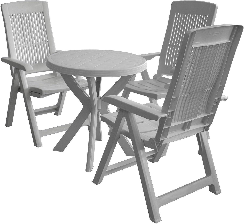 4 piezas. Balcón Juego Plástico Jardín Mesa Redonda + silla plegable silla de jardín 5 posiciones Muebles de Jardín Asiento Grupo Sillas: Amazon.es: Jardín