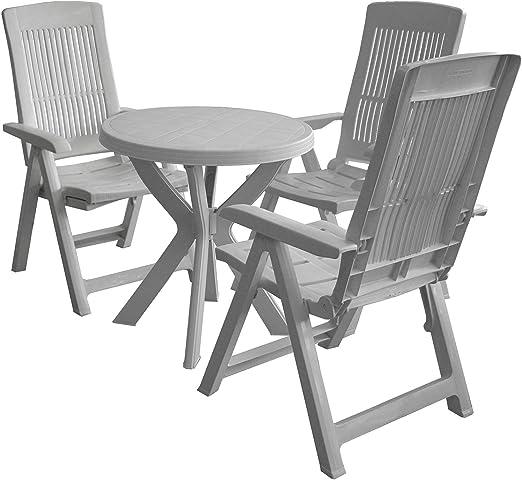 4 piezas. Balcón Juego Plástico Jardín Mesa Redonda + silla ...
