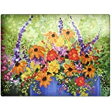 Summer Flowers in Blue Pot by Denise Every - Space Case by New Vibe Glass Cutting Board