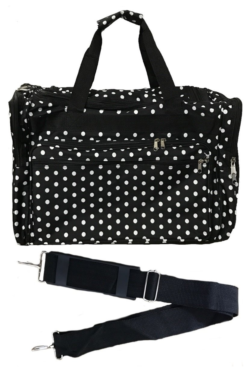 19-inch Travel Duffle Bag   Multiple Designs to Choose From   Perfect Travel Size Duffel Bag by Unique Traveler (Polka Dots-Black and White)