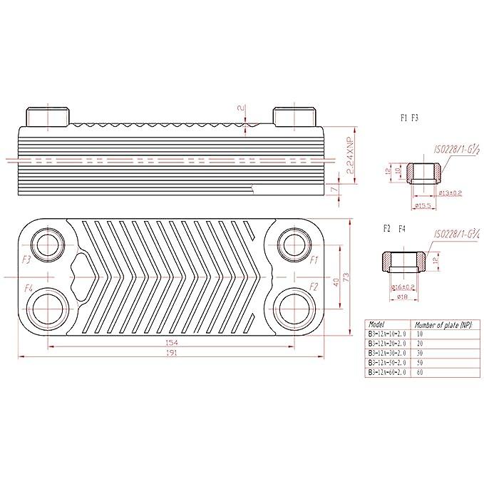 Hrale Intercambiador calor térmico acero inoxidable 10 placas Termocambiador placas máx. 22 kW: Amazon.es: Bricolaje y herramientas