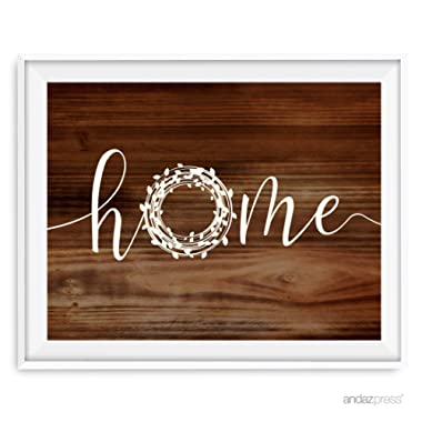 Andaz Press Holiday Wreath Wall Art Collection, Rustic Wood, Home, 8.5x11-inch, 1-Pack, Unframed