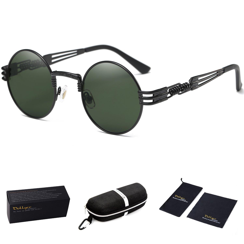0060e938dd Galleon - Dollger Dark Green Glasses Round Steampunk Women Metal Frame  Sunglasses