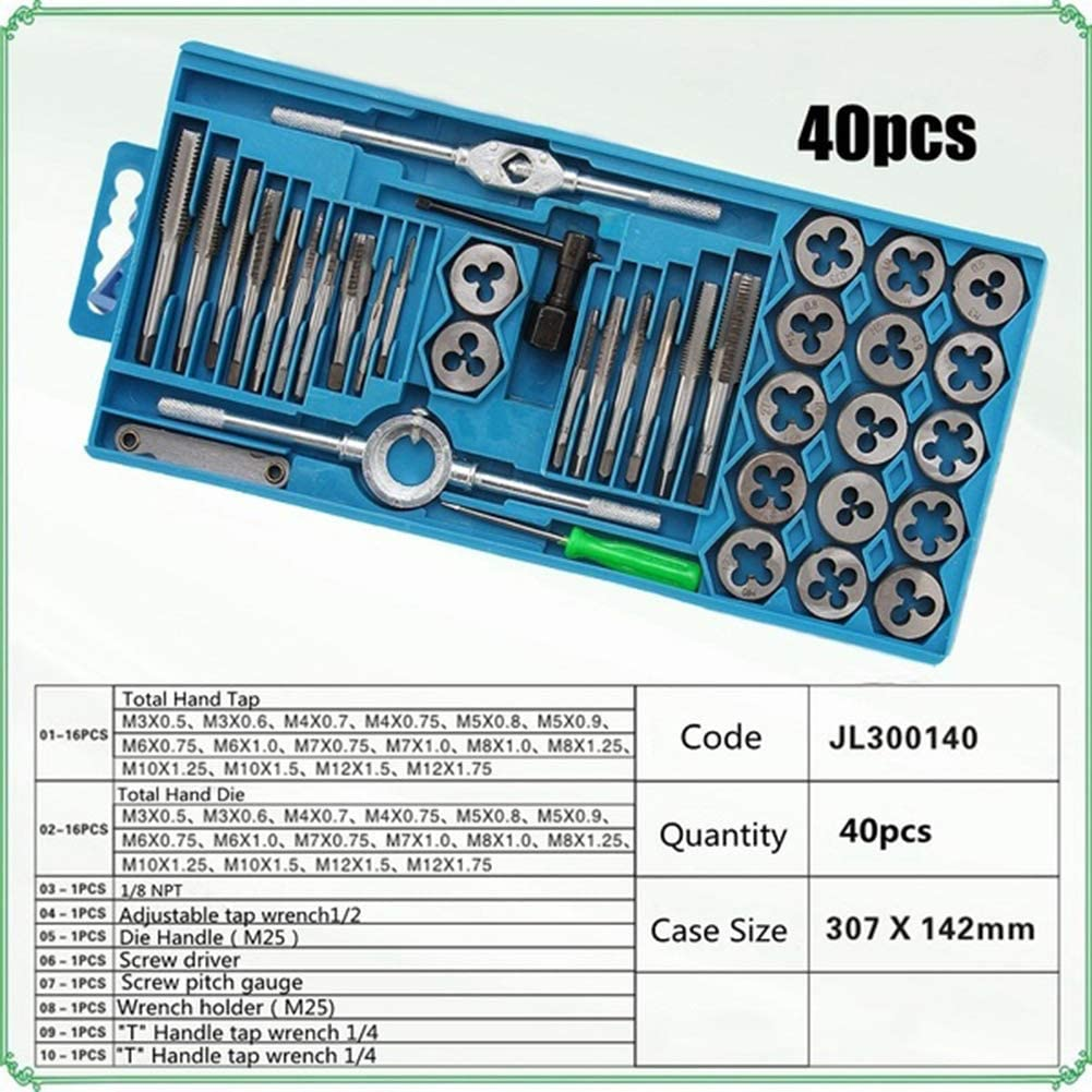 12//20//40Pcs Durable Alloy Steel Metric Wrench Hardware Extractor Remover Repair Tool Silver 20 Pcs interjunzhan Tap and Die Set