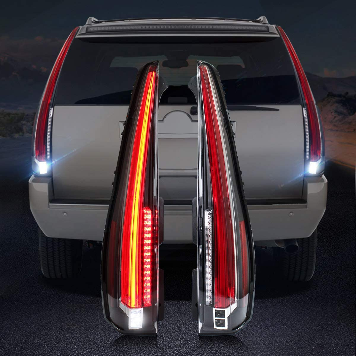 YAB-KLD-0156C YUANZHENG Full LED Tail Lights Assembly for Red /& Clear Cadillac Escalade 3rd Gen SUV 2007 2008 2009 2010 2011 2012 2013 2014 Rear Lamp with Red Turn Signal
