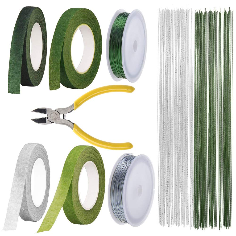 Floral Arrangement Kit Tools, LAMPTOP Floral Supplies Included 4Rolls Floral Tapes, 200pcs Floral 26 Guage Stem Wire, 2rolls 33ft Paddle Wire and Cutter for Men and Women Floral Design Lovers