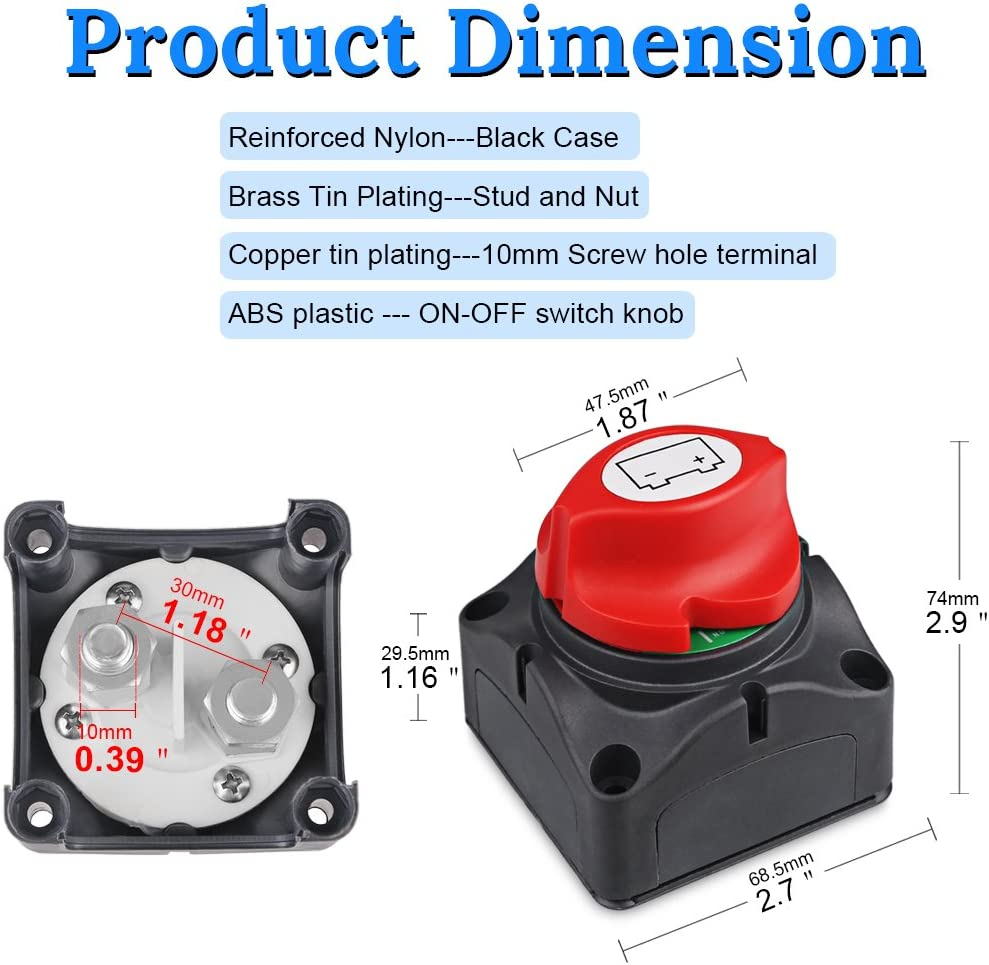 WATERWICH DC 8-60V Battery Disconnect Switch Cut/Shut off Marine Battery Switch 275/1250 Amp Waterproof for Ship Boat Small Yacht RV Camper Truck Car Vehicle(On-Off Switch): Automotive