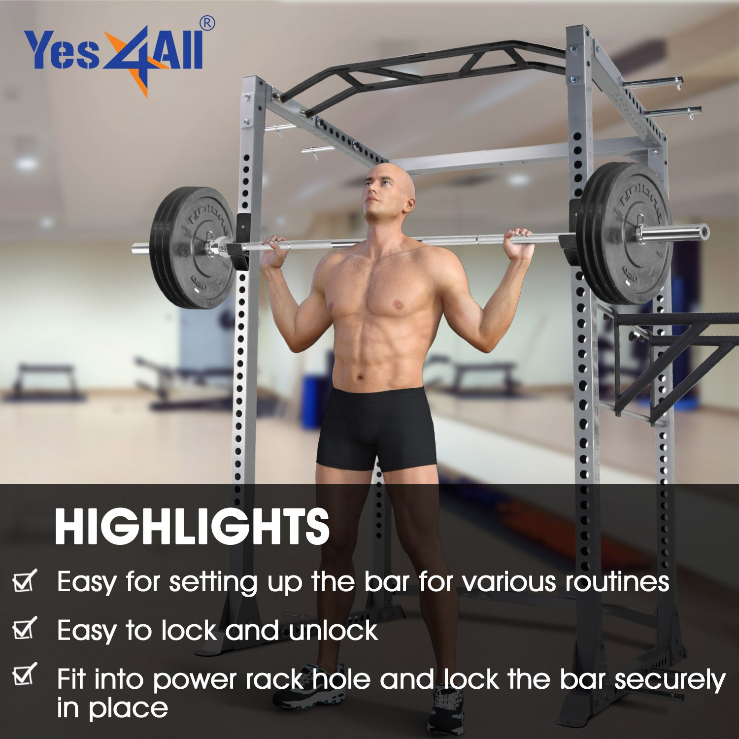 Yes4All Pair of J Hooks for Power Rack, Squat Rack - J Hook Weight Rack (2 inch Square Tube) by Yes4All (Image #7)