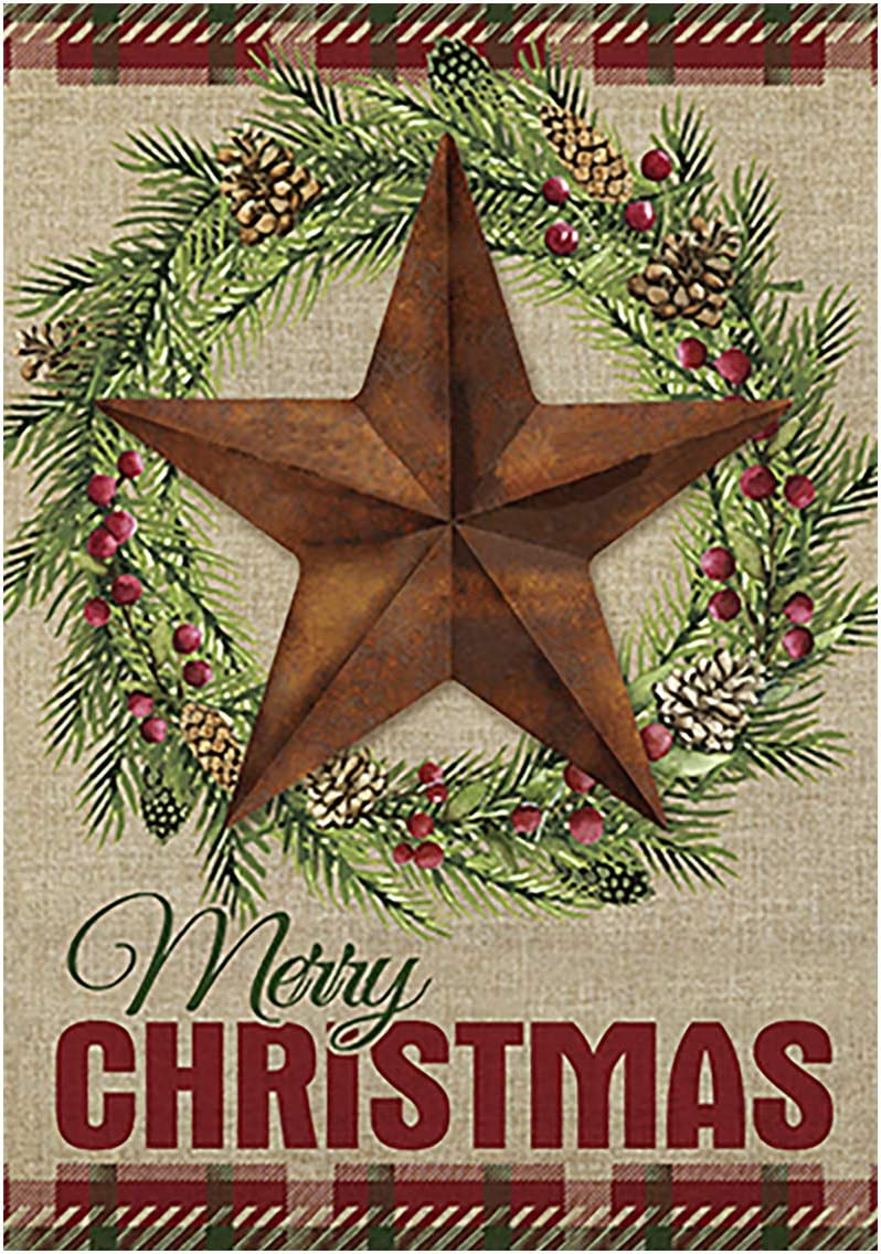 Morigins Barn Star Wreath Happy Winter Double Sided Merry Christmas House Flag 28 x 40 inch