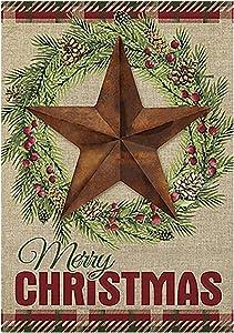 Morigins Barn Star Wreath Happy Winter Double Sided Merry Christmas House Flag 28 x 40 inch