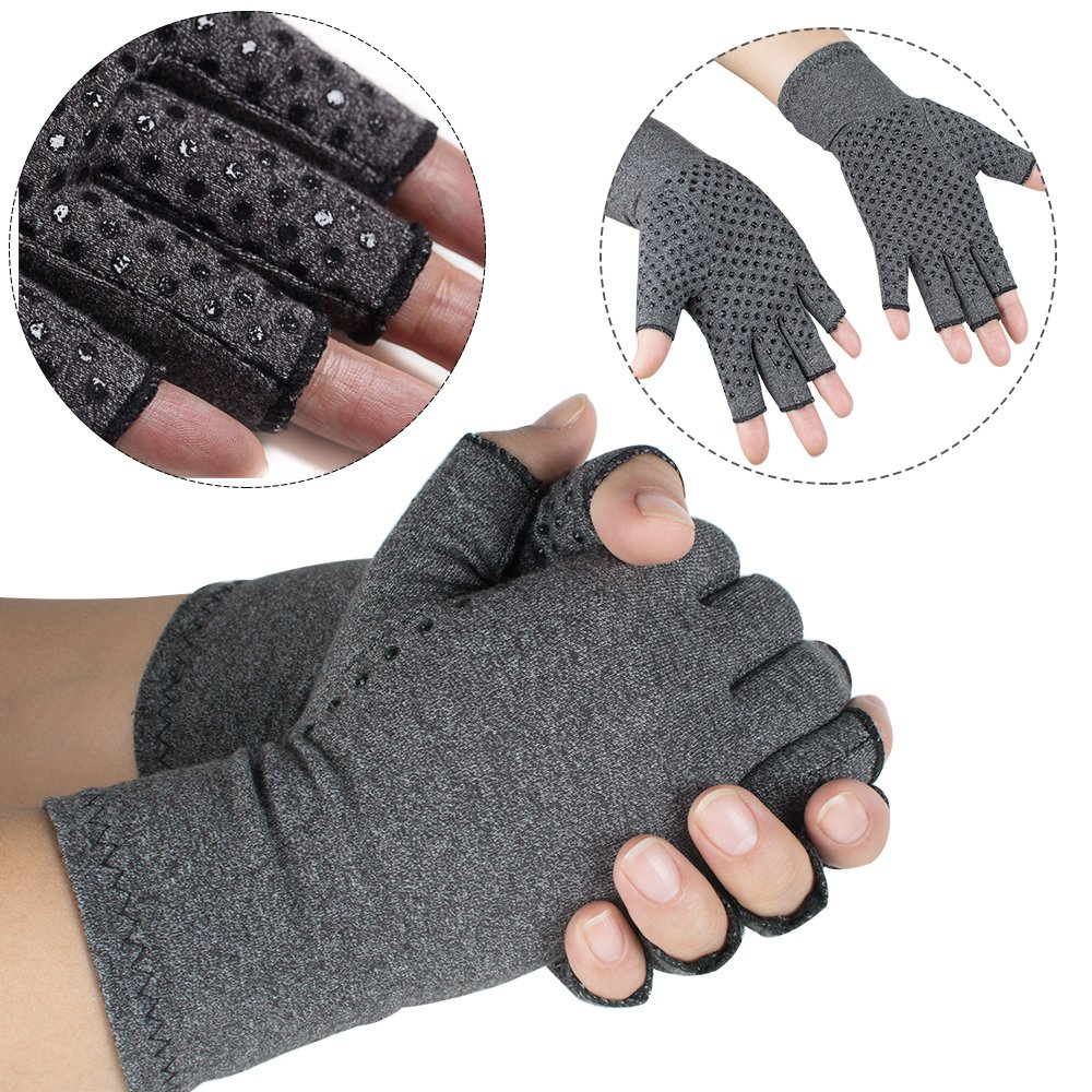 Arthritis Gloves, Vinmax Cotton & Spandex Arthritis Rehabilitation Bumps Training Nursing Grip Gloves Open Finger Keep Hands Warm & Relieves Pain for Men & Women (Medium) by vinmax