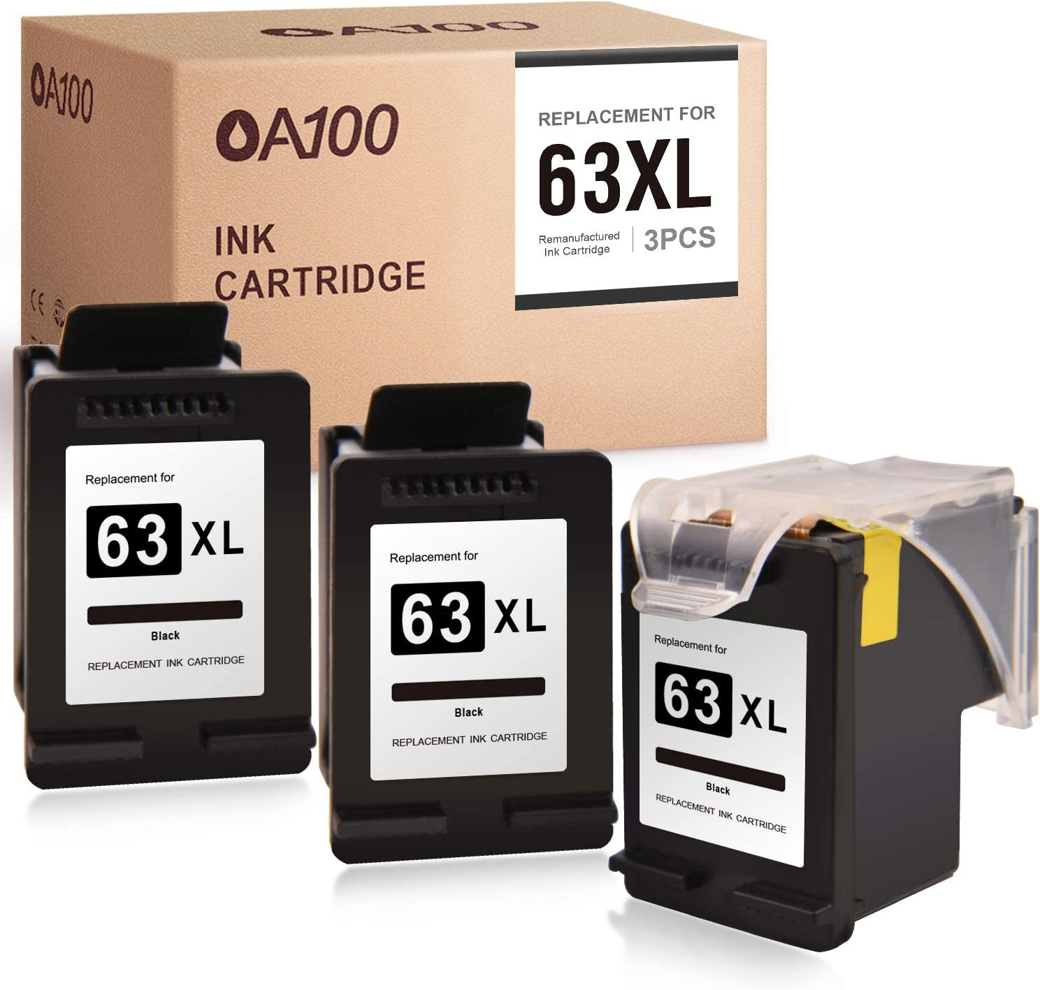 OA100 Remanufactured Ink Cartridge Replacement for HP 63 63XL for Officejet 3830 5255 4650 5258 4655 5200 Envy 4520 4512 (Black, 3 Pack)
