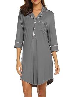 489bbe3457 Ekouaer Womens V Neck Long Sleeve Nightgown Sleepwear Summer Slip Night  Dress S-XXL
