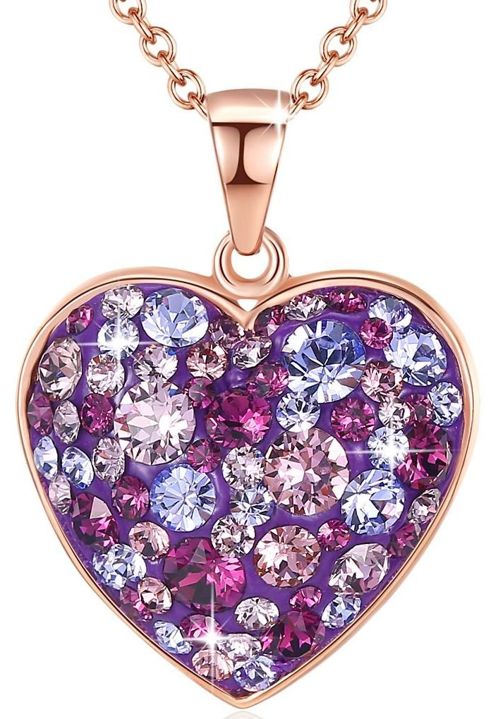 Esottia Multi-Stone Heart Pendant Necklace Fill Your Heart with Love Made with Swarovski Crystals 18K Rose Gold Plated 18''+2'' Love Heart Necklace Color Purple for Girlfriend Wife Mother Daughter