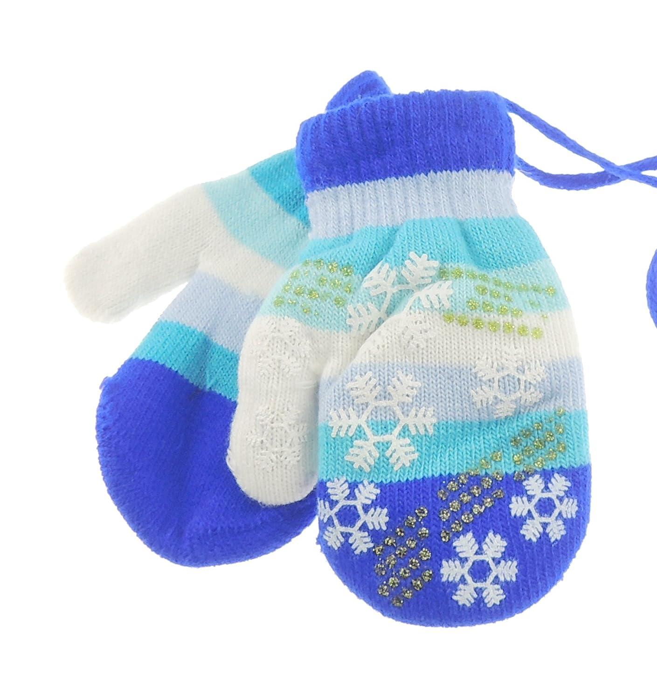 Snowflake Stripy Baby Girls Boys Warm Winter Mittens 6-24 Months Baby Pink