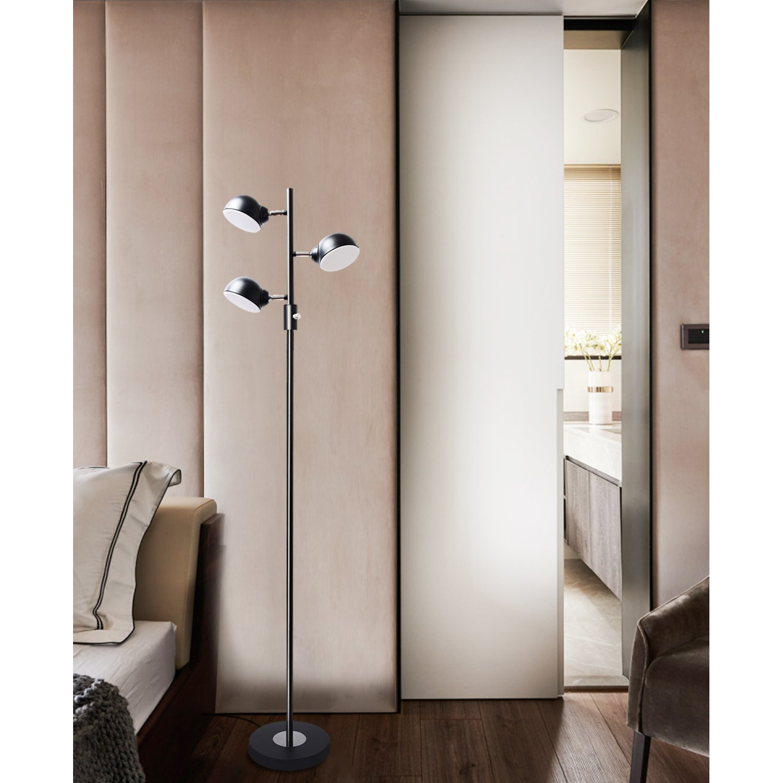 Floor Lamp, SUNLLIPE 3 Lights LED Reading Floor Lamp 15W Modern Tall Pole Standing Dimmable & Adjustable Omnidirectional Energy Saving Tree Lamp for Bedroom, Living Room, Office (Jet Black) by sunllipe (Image #6)